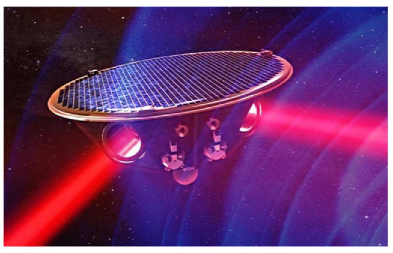 Artist's impression of one of the eLISA spacecraft on a background of gravitational waves