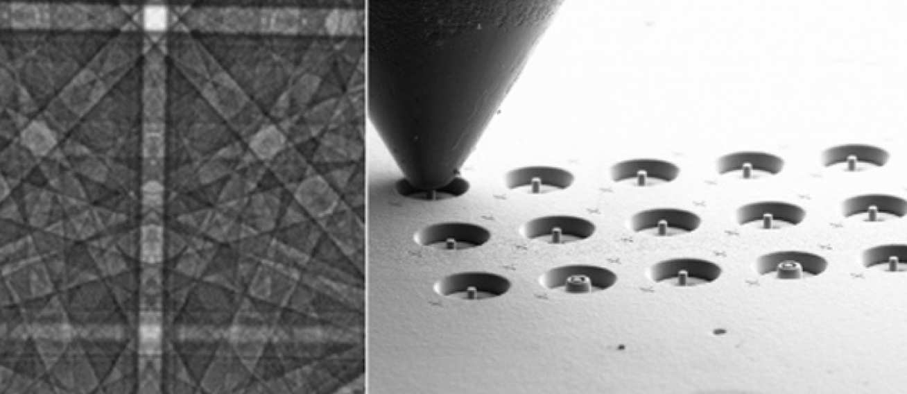 (left) Diffraction pattern used as an 'atomic strain gauge' for HR-EBSD measurement of elastic stress and dislocation content;(right) in-situ Micromechanical testing of micro-pillars.