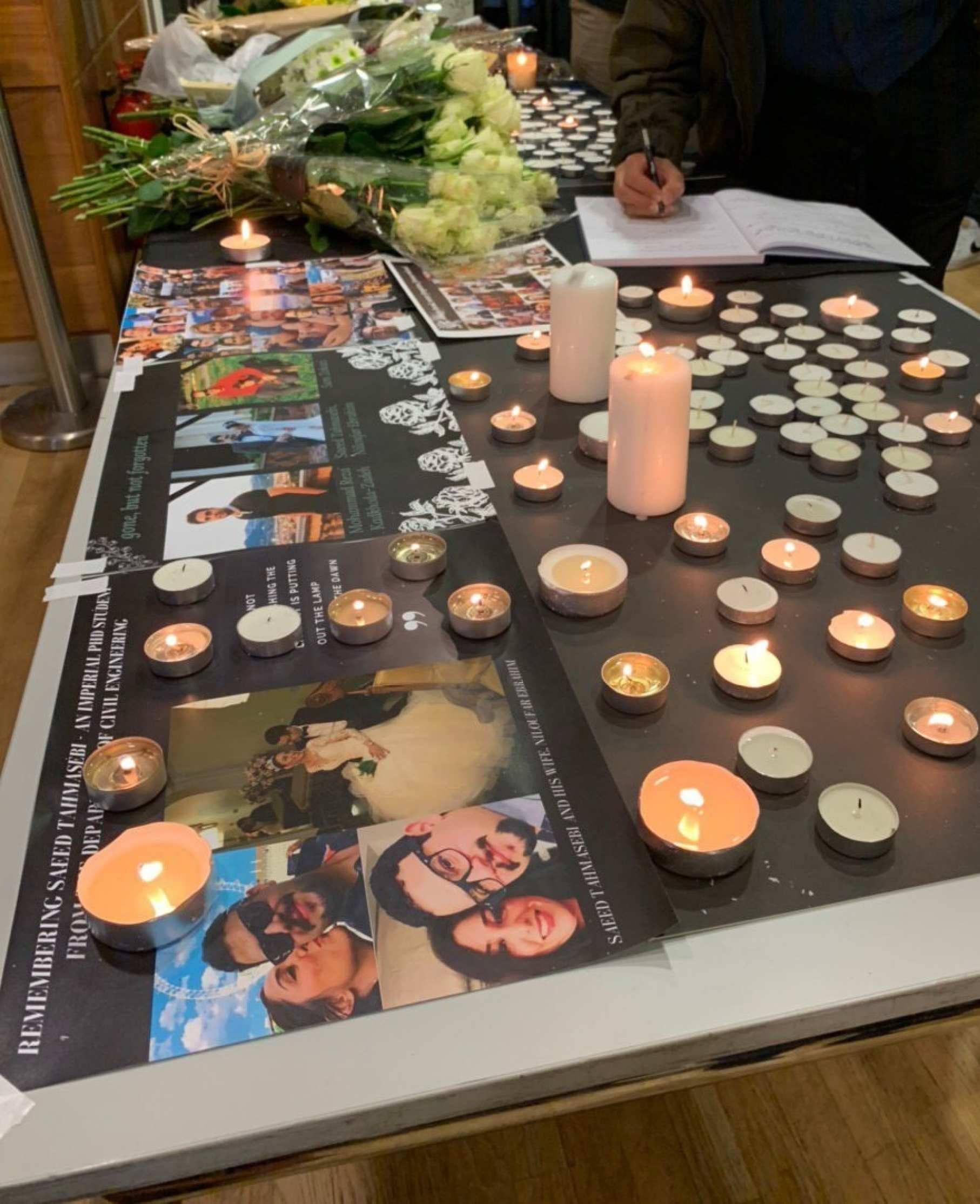 Staff and students paid tribute to Saeed at a memorial organised by the Iranian society