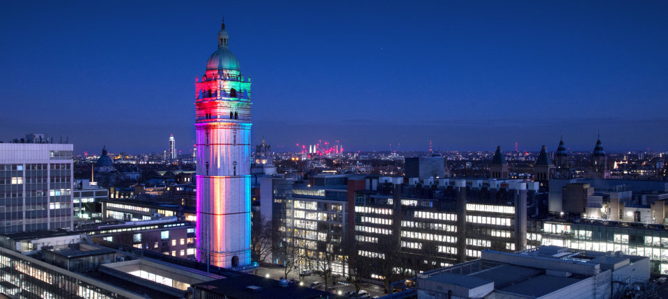 Queen's Tower illuminated in rainbow colours