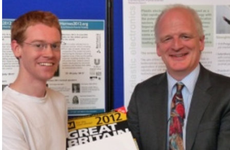 Sebastian Wood and his AA roadmap presented with the prize iPad by Prof. Andrew George