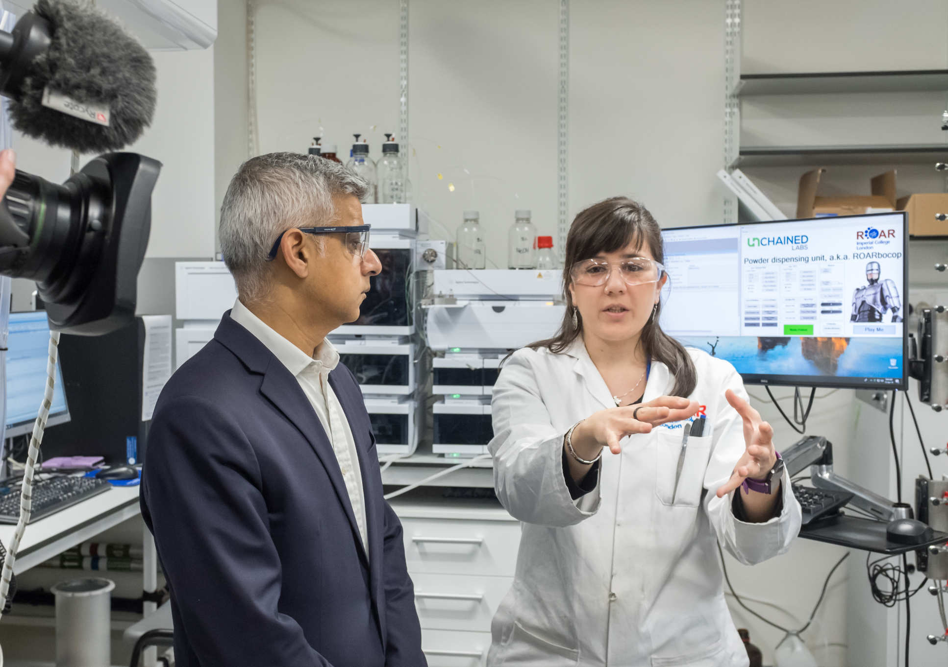 Mayor Sadiq Khan in the ROAR research facility