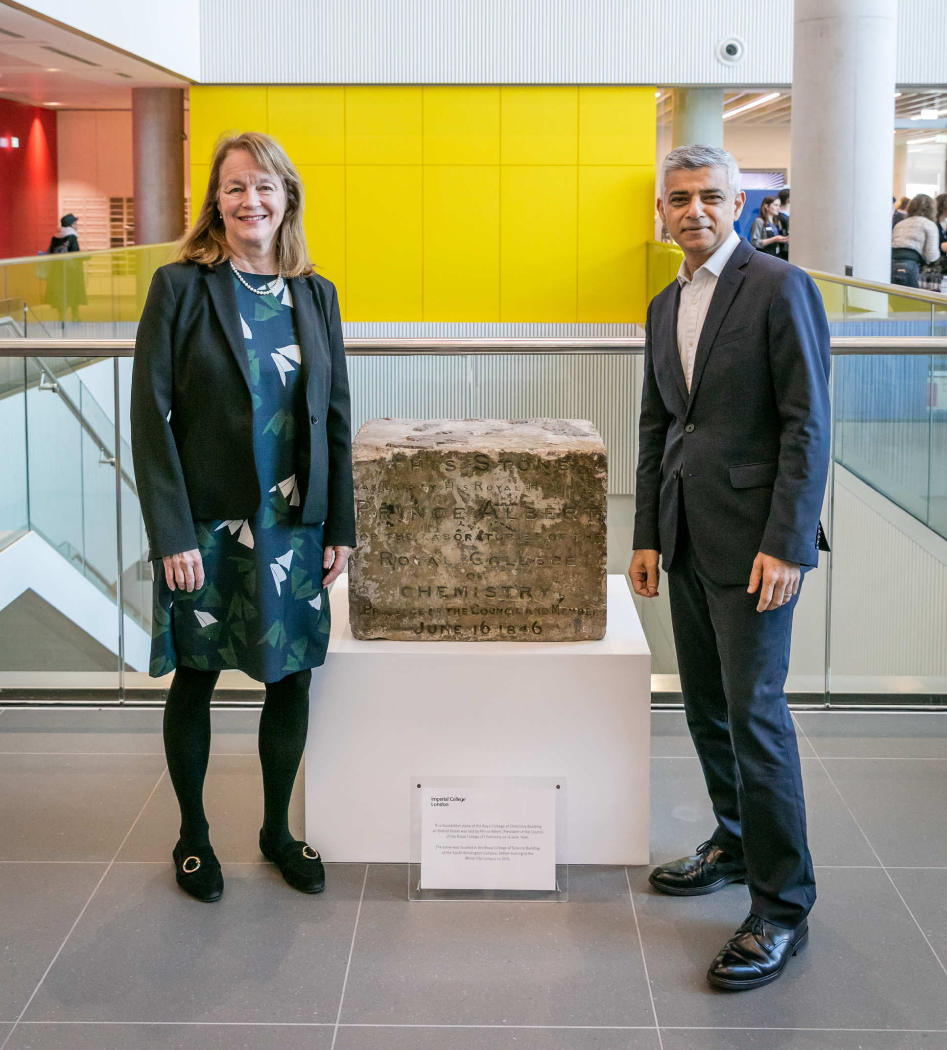 President Alice Gast and Mayor Sadiq Khan with Prince Albert's original Royal College of Chemistry foundation stone