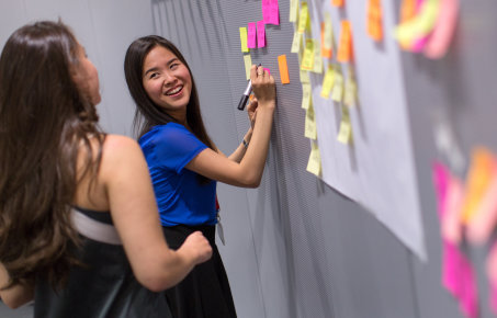 Business school students study design thinking