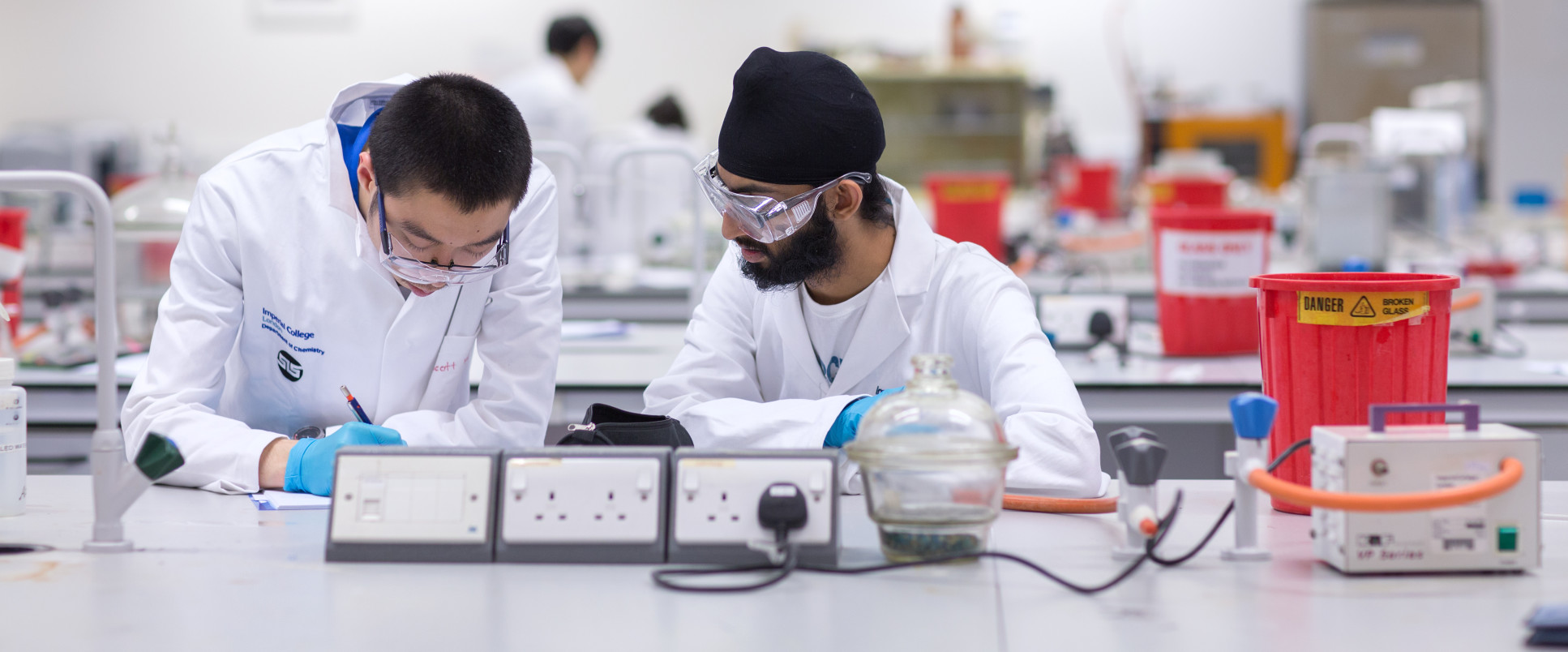 Students working in labs