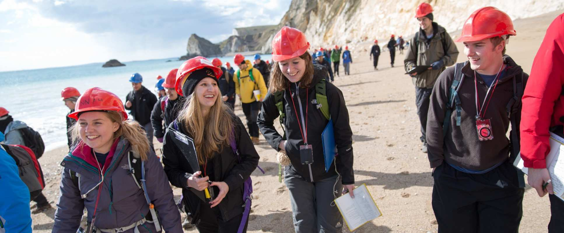 Dr Mark Sutton teaches students of Geology 'Module 2.05, Introduction to Field Geology' on a field trip to Dorset.