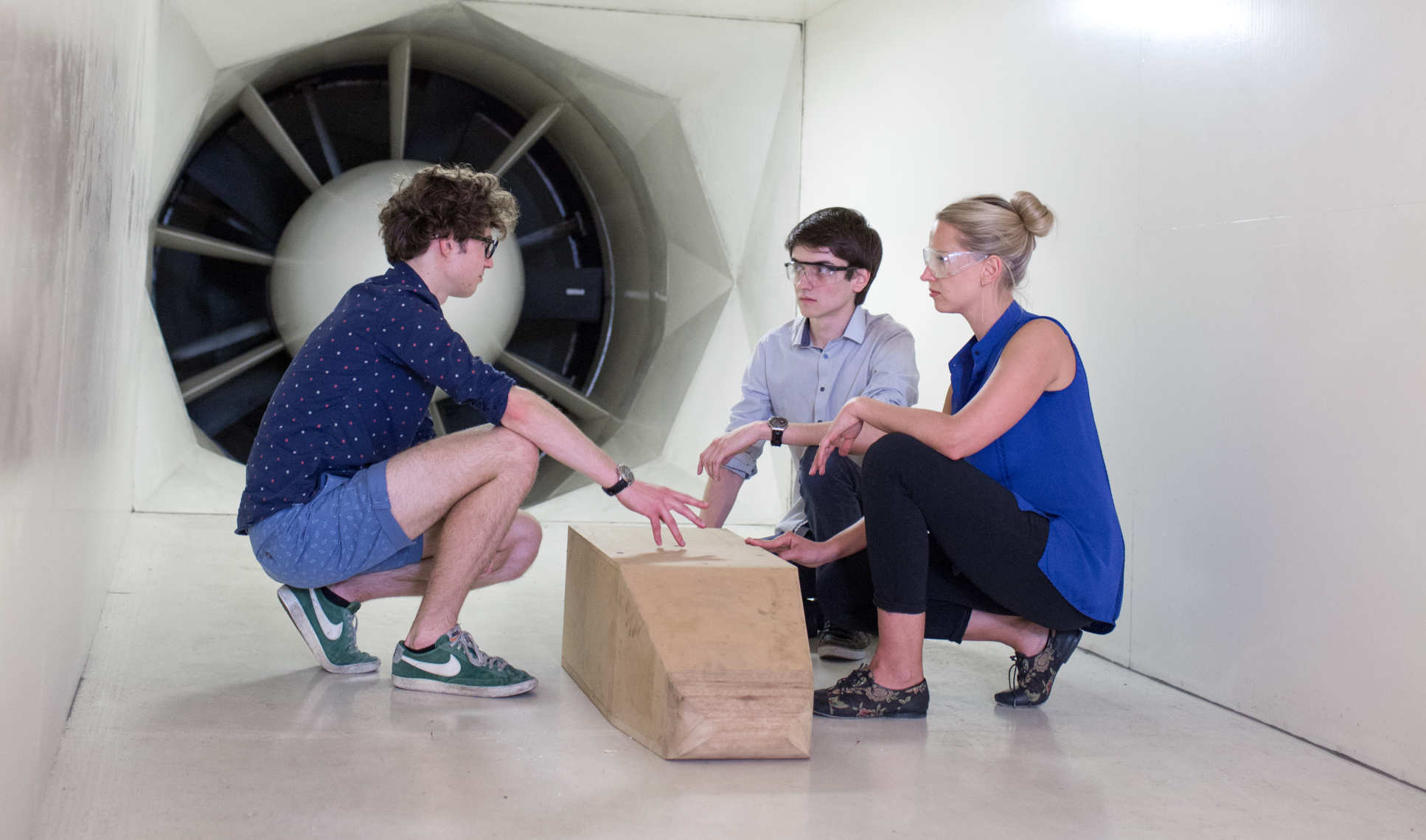 Students in wind tunnel
