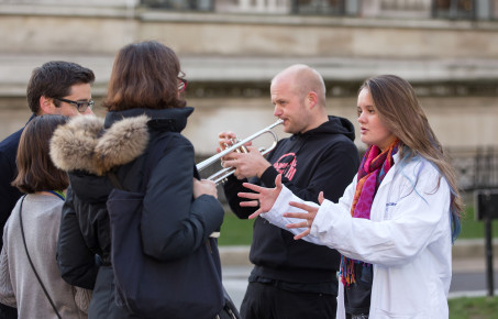 An Imperial researcher and a musician engage with members of the public on Exhibition Road