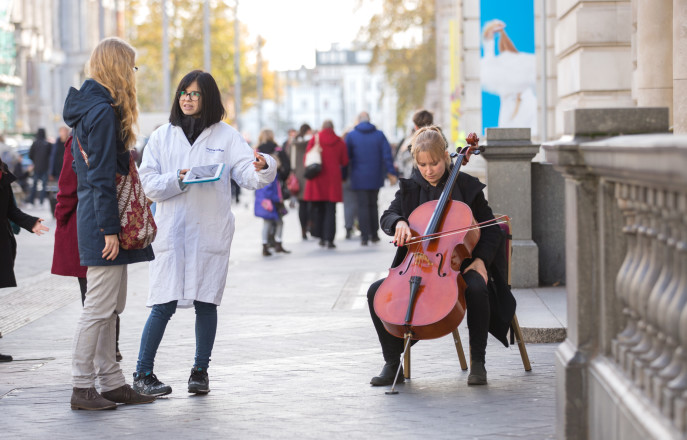 An Imperial researcher and a musician engage members of the public on Exhibition Road