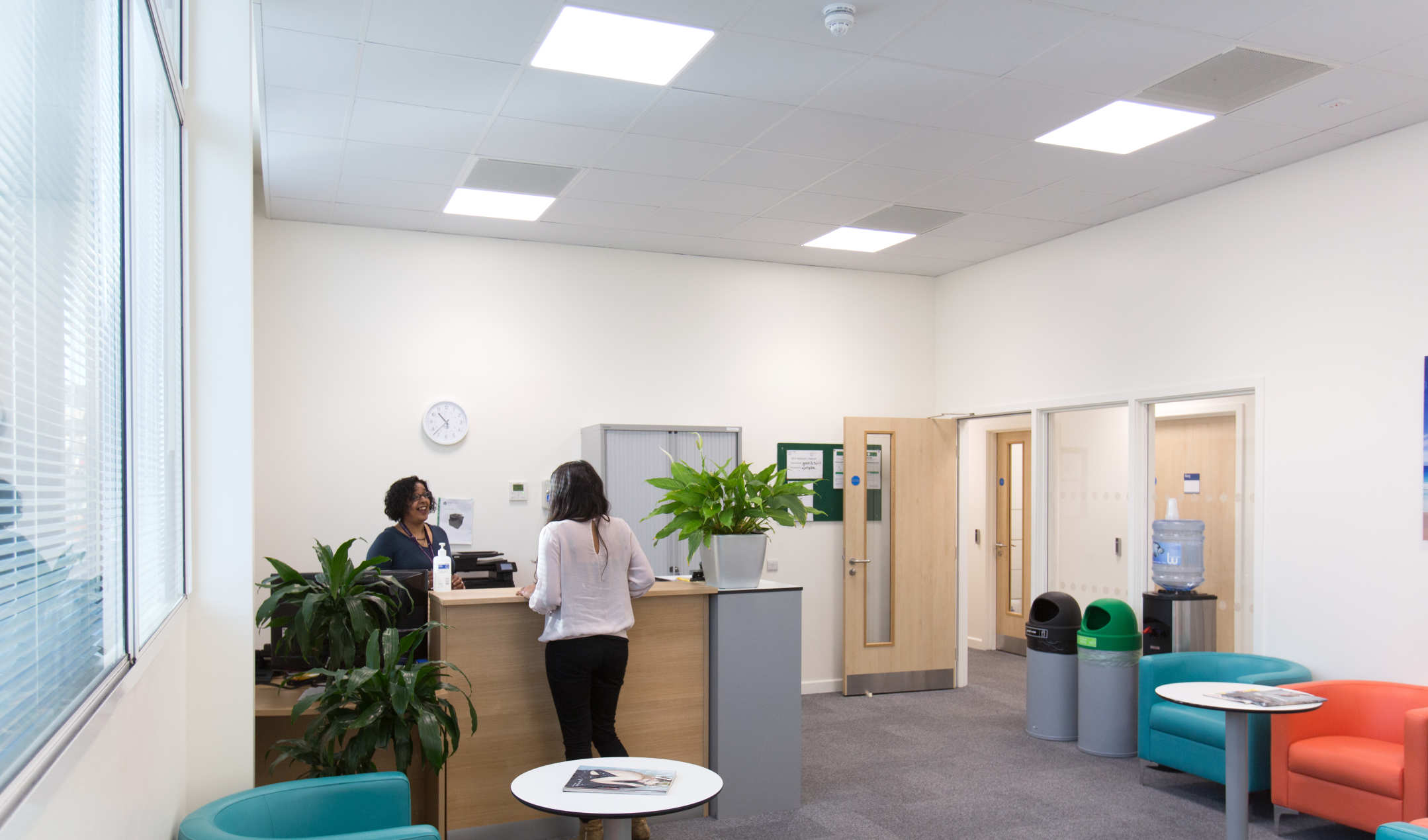 Reception area at the Imperial NEA Research Hub at Stadium House
