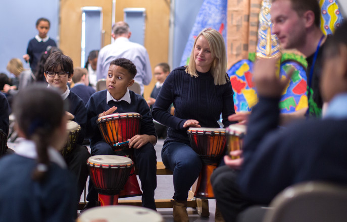 Pupils playing drums