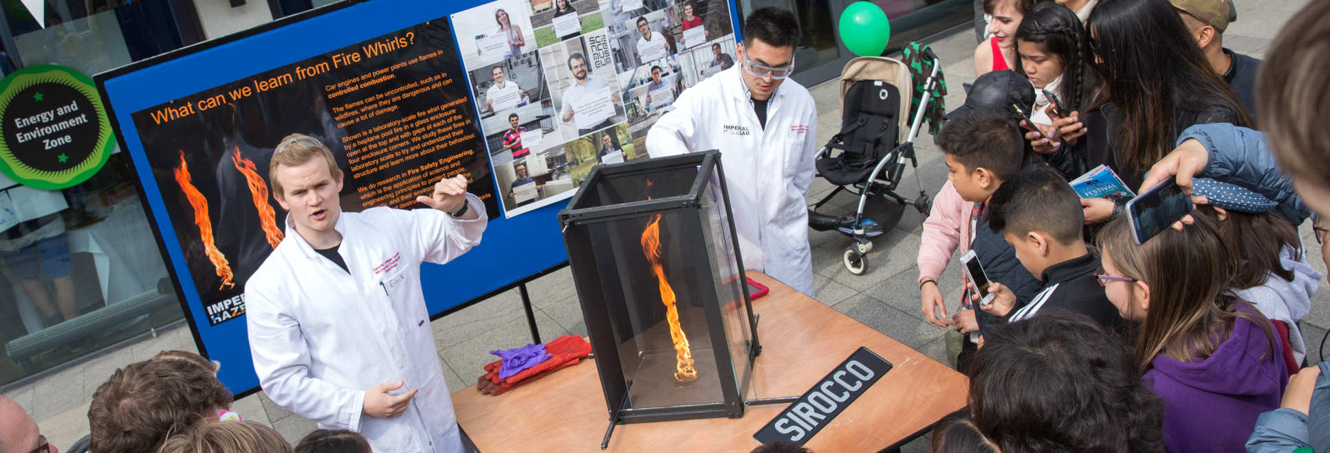 Researchers demonstrate a 'fire whirl' at Imperial Festival
