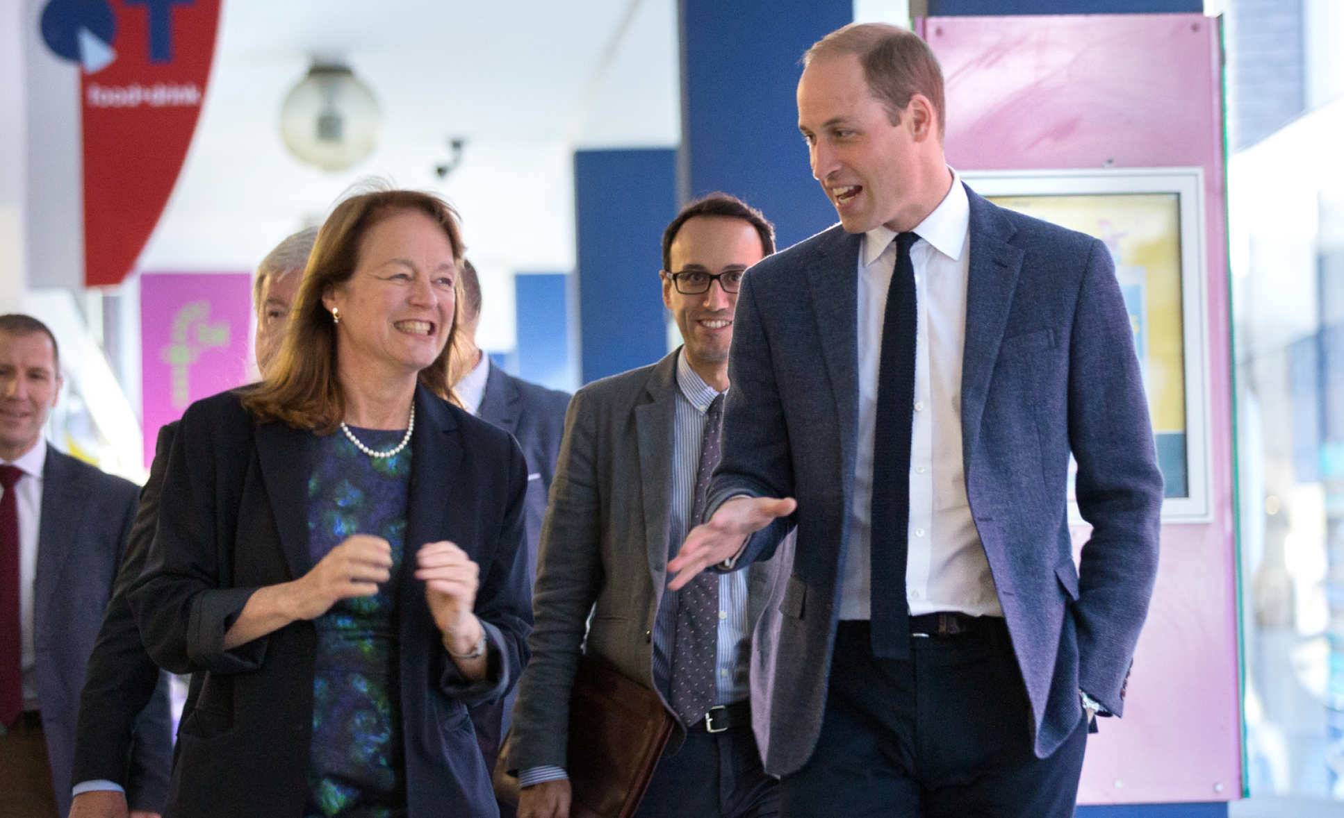 President Alice P. Gast walking with The Duke of Cambridge on campus.