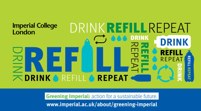 graphic with the words drink refill repeat and drawings of bottles