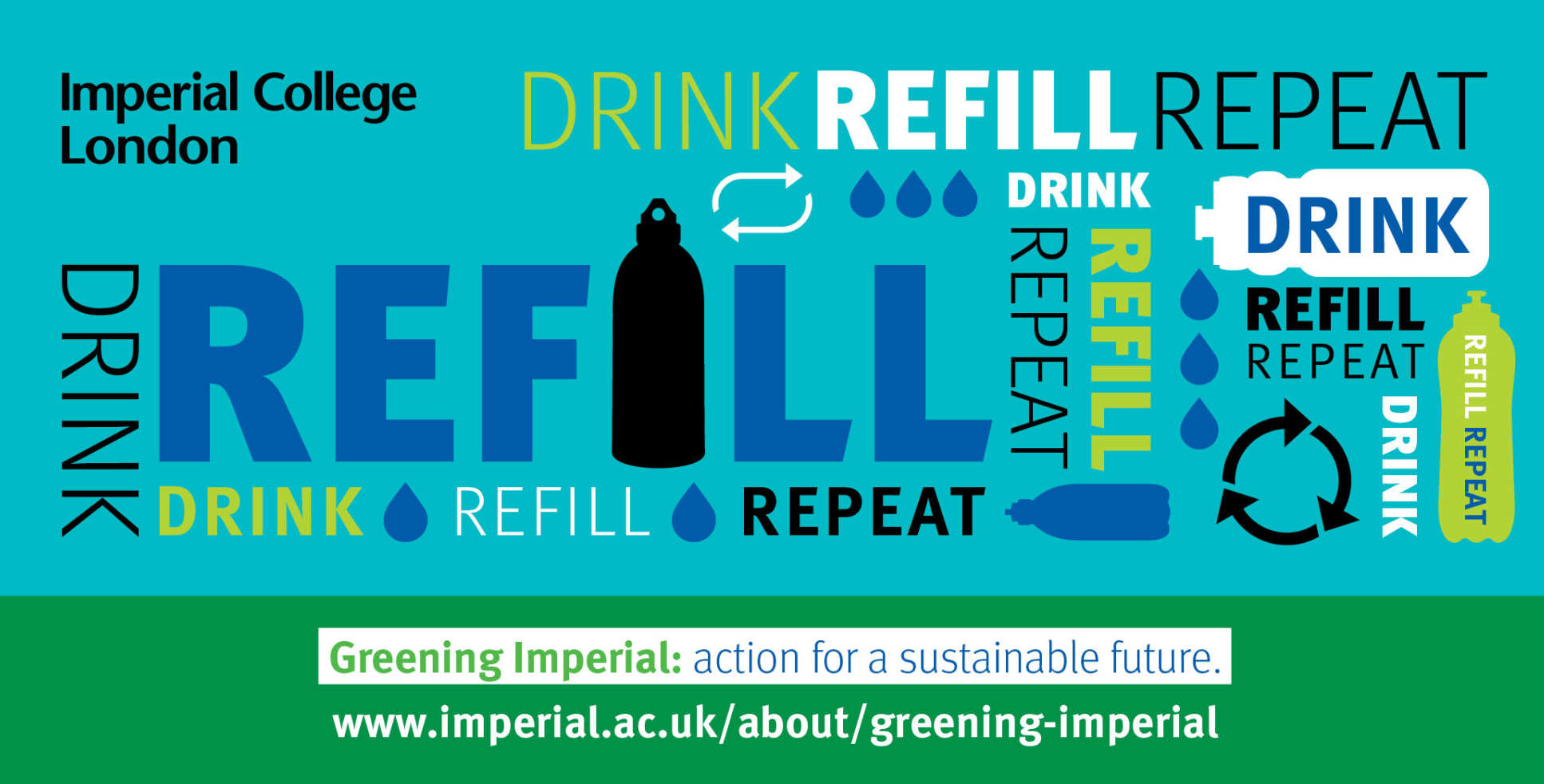 "Graphic with the words ""Drink Refill Repeat"""