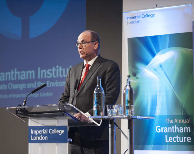 Prince Albert II of Monaco delivering the Grantham Annual Lecture 2018