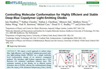 Controlling Molecular Conformation for Highly Efficient and Stable Deep-Blue Copolymer Light-Emitting Diodes