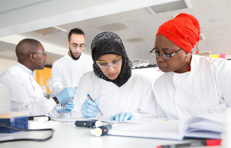 Group of students working in a laboratory