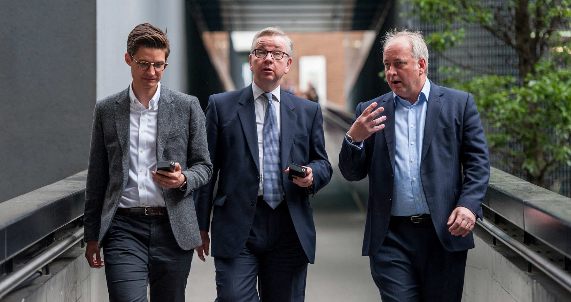 Dr Marc Stettler with Michael Gove and Professor Nick Jennings at the launch of the Government's Clean Air strategy at Imperial, May 2018