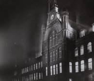 The Waterhouse building at night