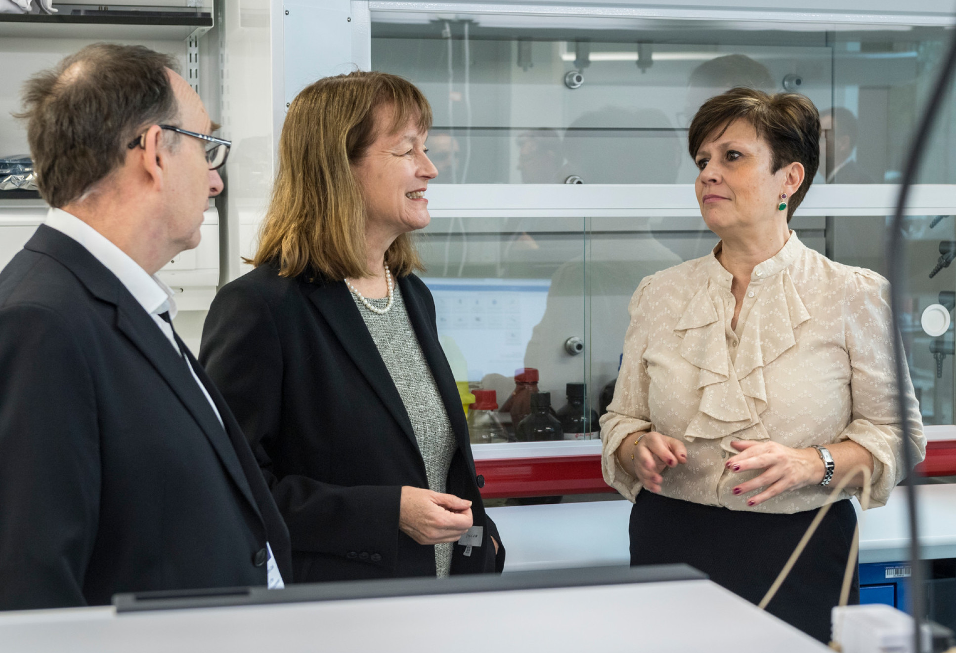 Professor Tony Cass, Professor Alice Gast and Maria Angeles Diaz at the launch of the Agilent Measurement Suite