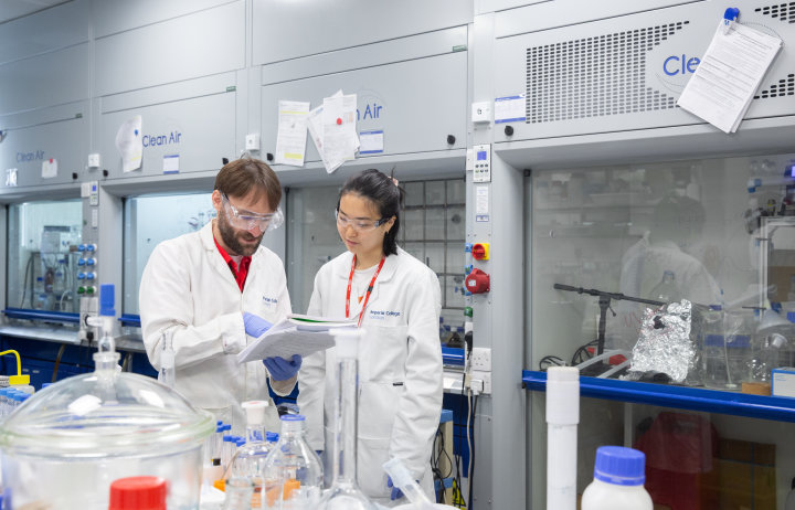 Professor Jason Hallett with Adele Wang, UROP student 1st Year Bioengineering. Adele is working on the effect of enzyme modification on aqueous enzyme activity in the Hallet Lab.
