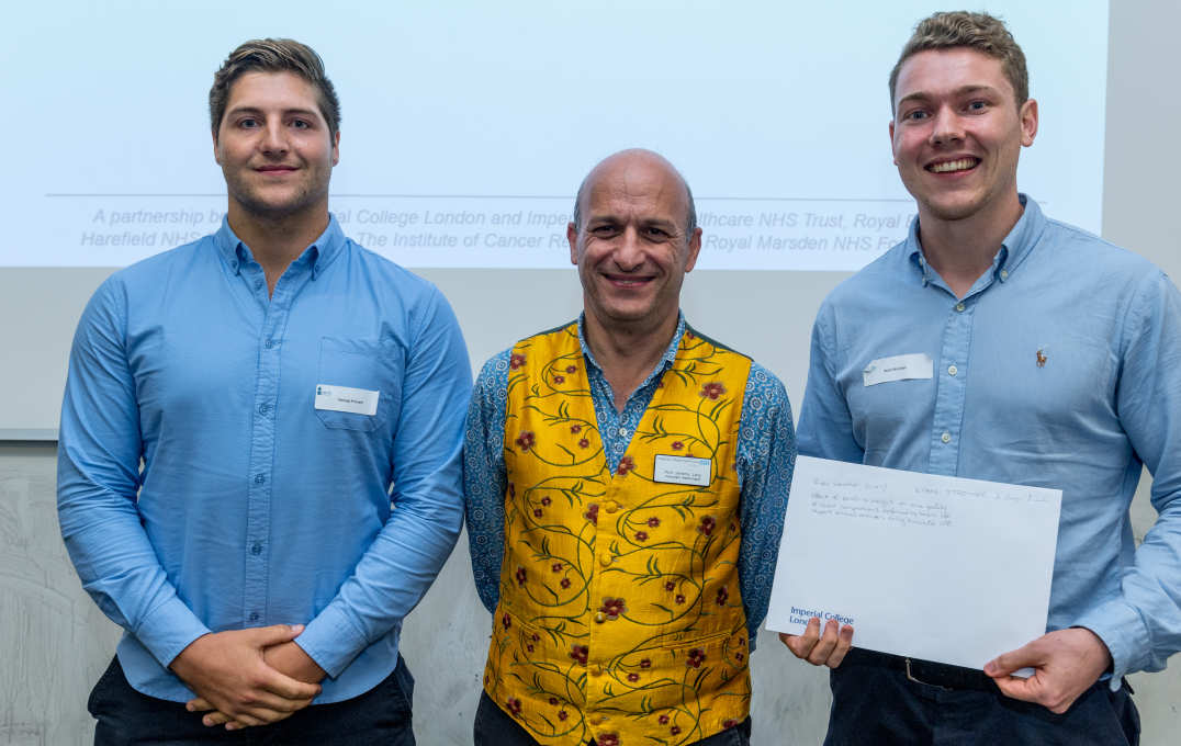 Poster winners George Premmitt and Ryan Strother with Professor Jeremy Levy, Director of the Clinical Academic Training Office
