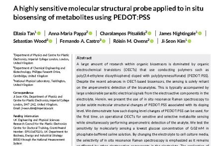 A highly sensitive molecular structural probe applied to in situ biosensing of metabolites using PEDOT:PSS