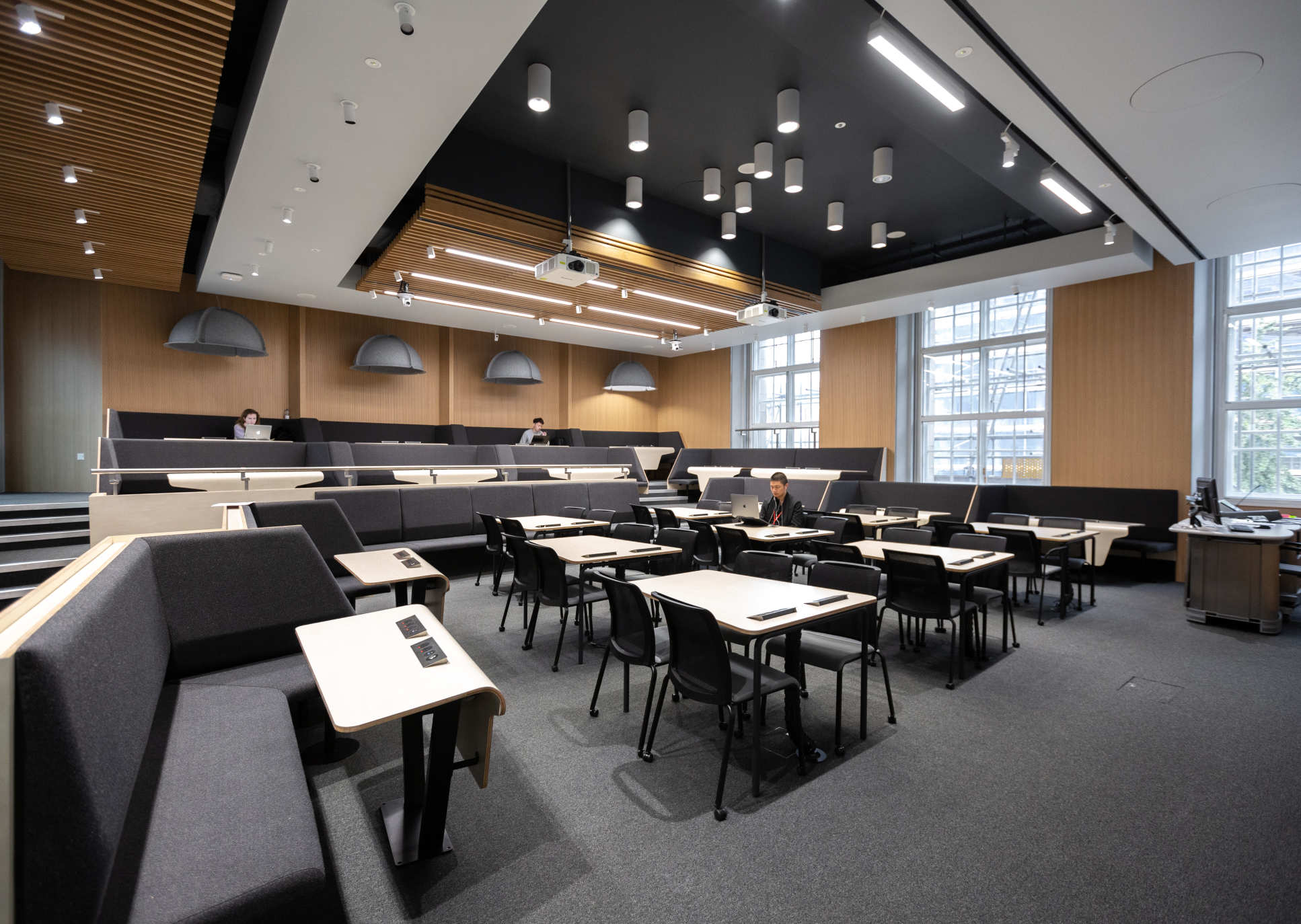 Royal School of Mines Lecture Theatre 147, post-renovation, being used for quiet study
