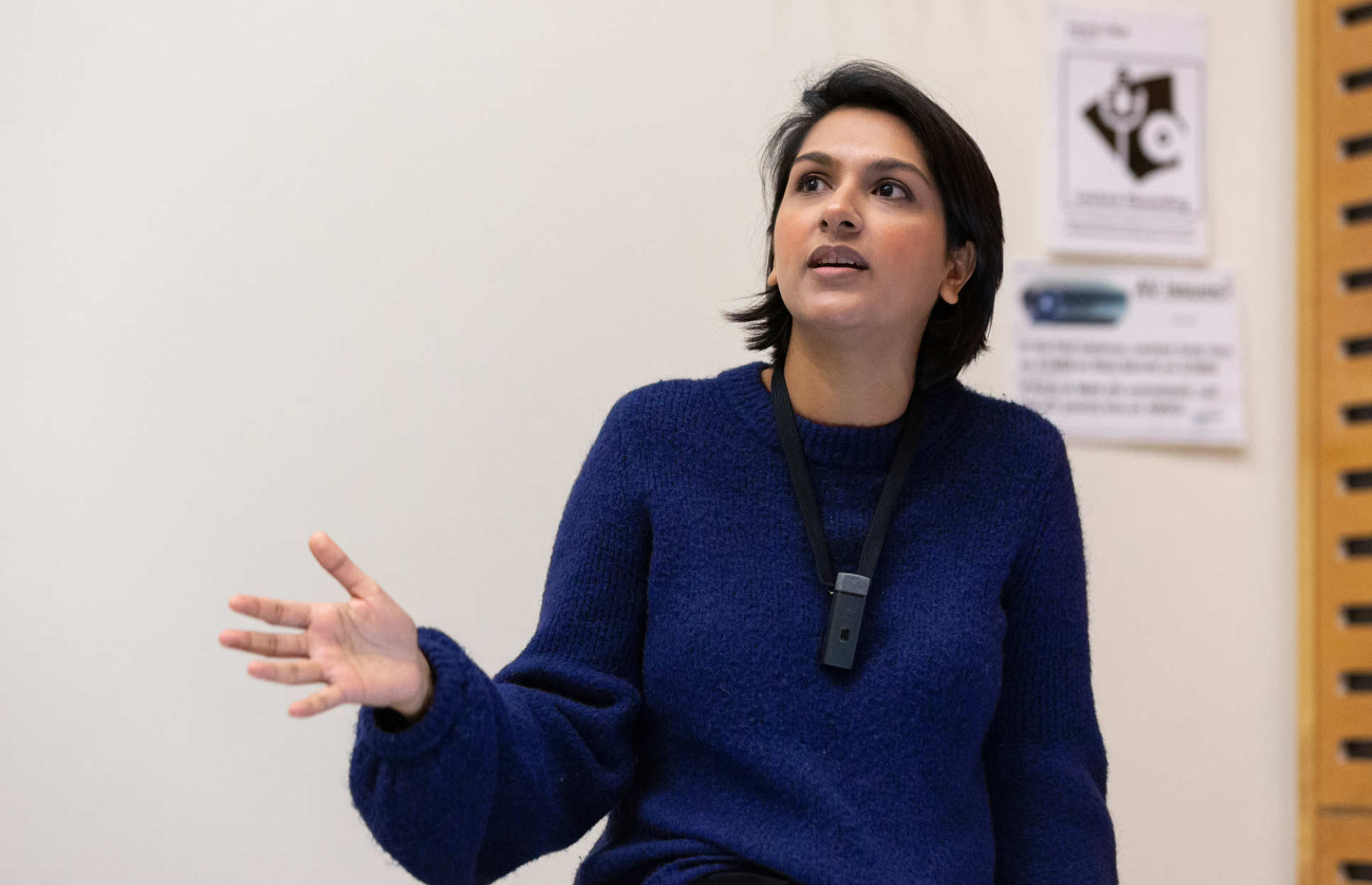 Angela Saini delivers a lecture