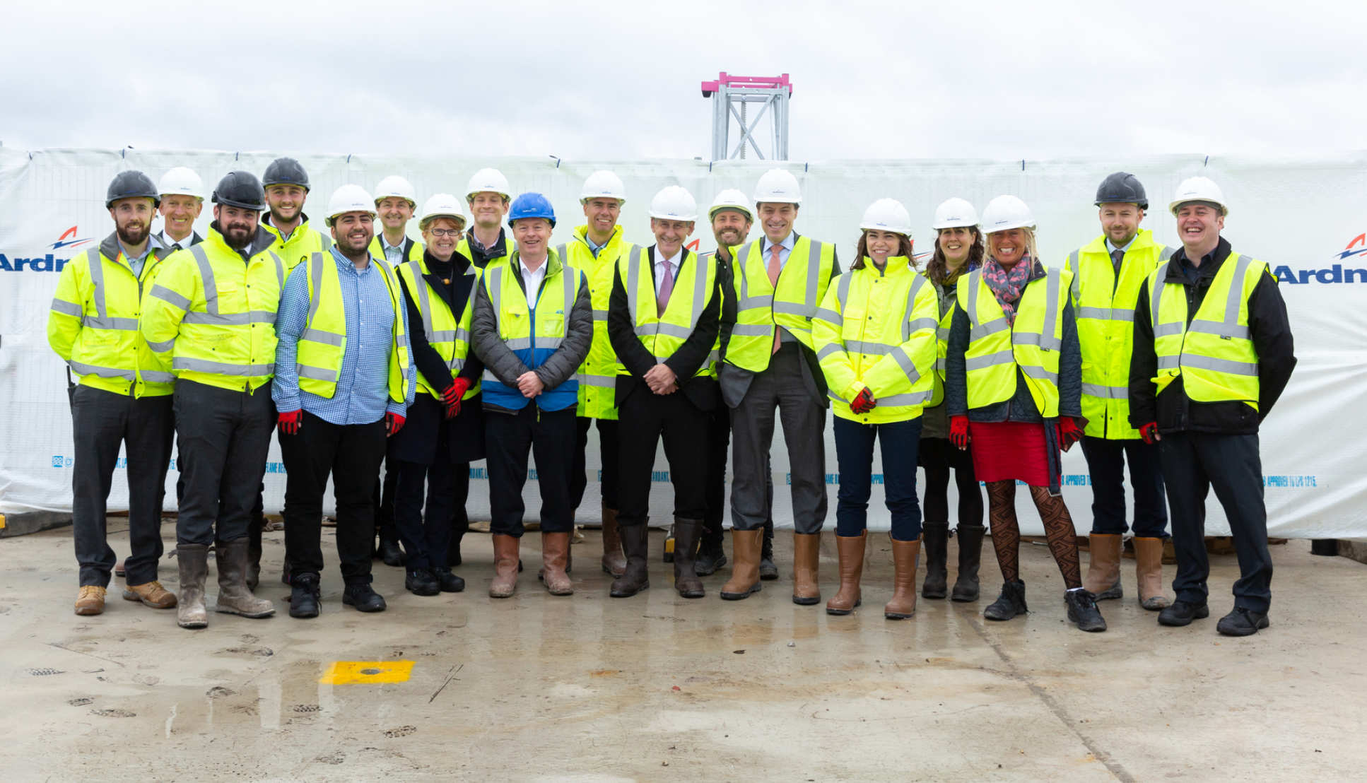 Attendees at the Kemp Porter Buildings topping out ceremony