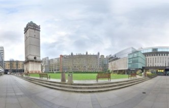 Panoramic view of the Queen's Lawn on South Kensington Campus