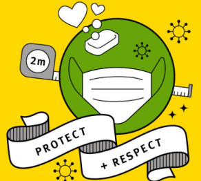 An illustration of a face mask with text that reads: protect and respect