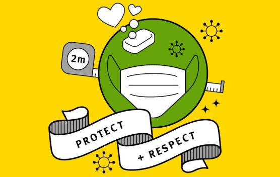 A graphic stating 'Protect and respect'