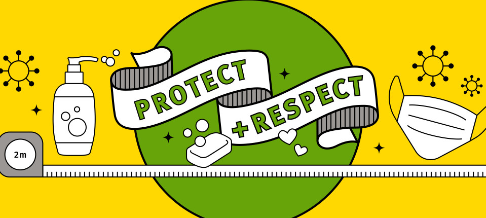 Protect and respect text on banner