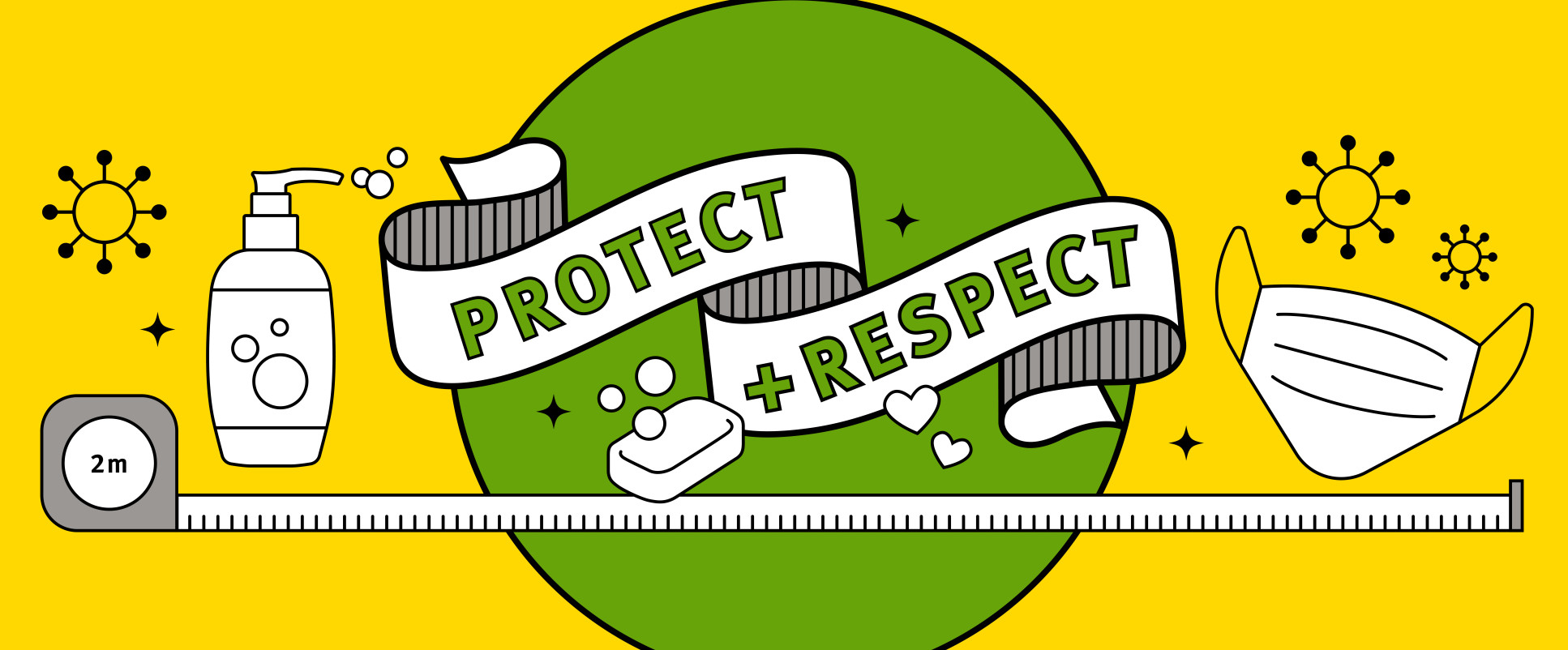graphic including images of 2m line, soap, mask and text 'protect + respect'