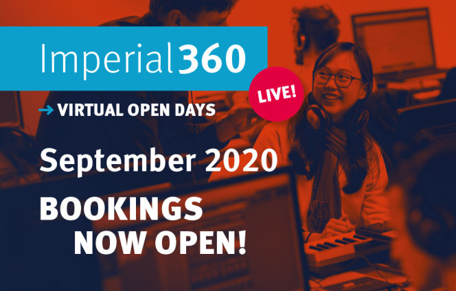 Student in computer lab: Imperial360 Live: Virtual Open Days - September 2020. Bookings now open!