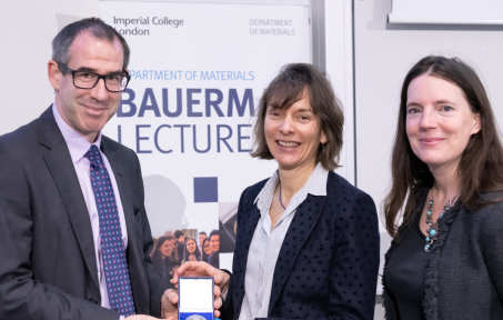 An image of Prof Peter Haynes, Prof Nicola Spaldin and Prof Molly Stevens at the Bauerman Lecture 2020