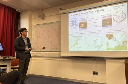Jinho presented his work on Polymer electrolyte for organic and perovskite solar cells at the inaugural CPE Seminar in Soft Electronic Materials.