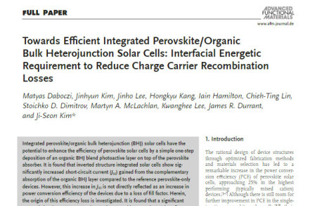 Towards Efficient Integrated Perovskite/Organic Bulk Heterojunction Solar Cells: Interfacial Energetic Requirement to Reduce Charge Carrier Recombination Losses