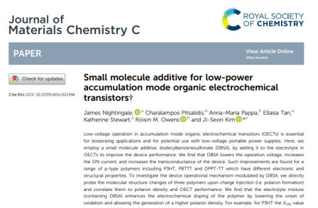 Small molecule additive for low-power accumulation mode organic electrochemical transistors
