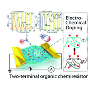 Molecular-level electrochemical doping for fine discrimination of volatile organic compounds in organic chemiresistors