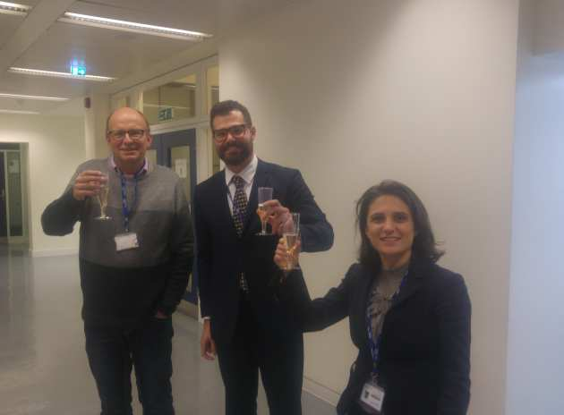 Francesco with Examiner Prof. Norbert Klein, and Supervisor Dr. Cecilia Mattevi