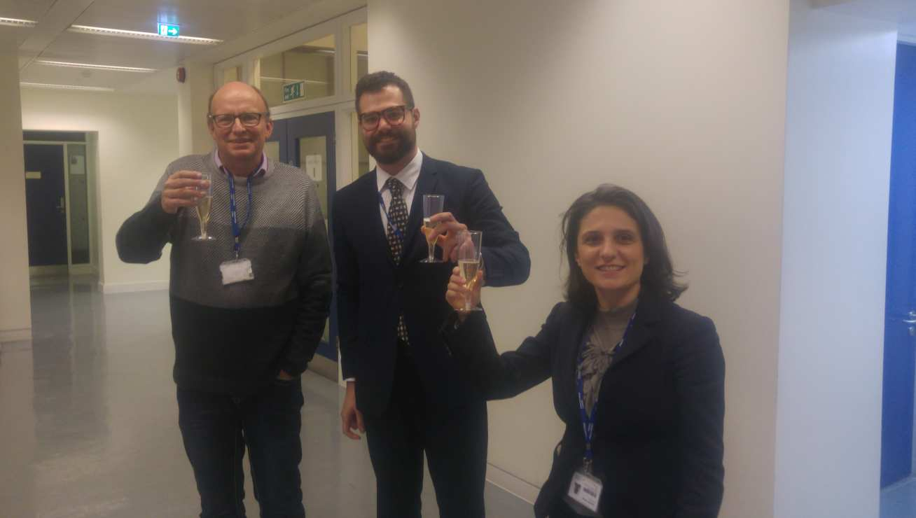 Prof Klein, Dr Mattevi, and Francesco Celebrate his Successful Viva!