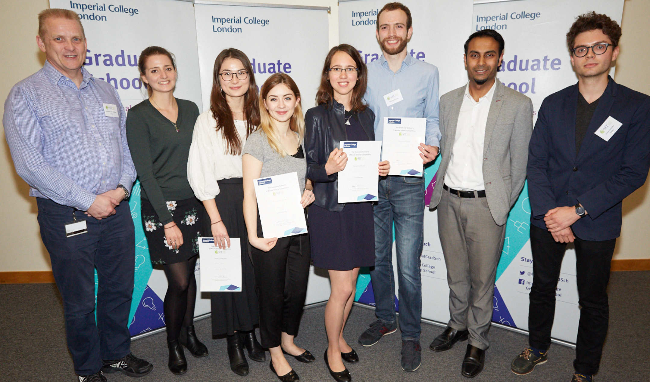 Three Minute Thesis Competition Winners, Judges and Host 2018