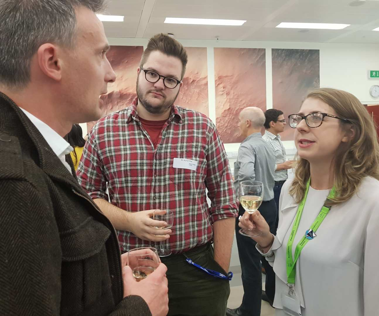 People at reception for postgraduate prizes