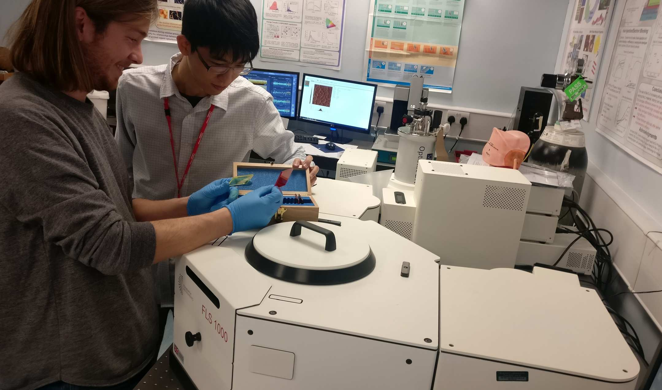 Yi-Chun and Joel doing some photoluminescence spectroscopy