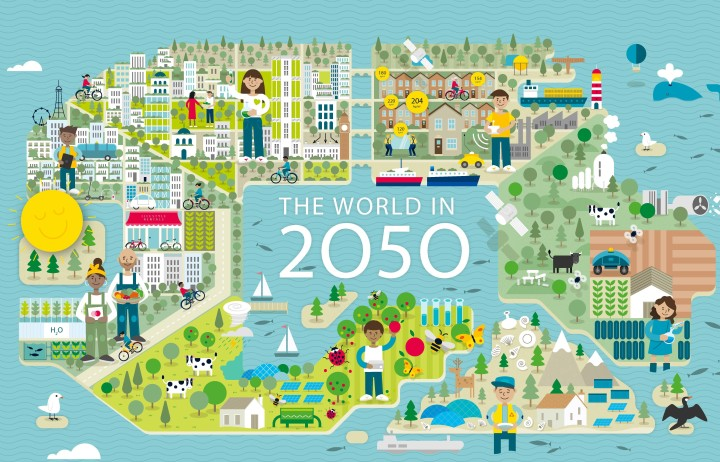 Graphic showing rural and urban scenes, surrounded by the sea, with the words