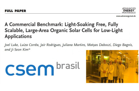 A Commercial Benchmark: Light‐Soaking Free, Fully Scalable, Large‐Area Organic Solar Cells for Low‐Light Applications