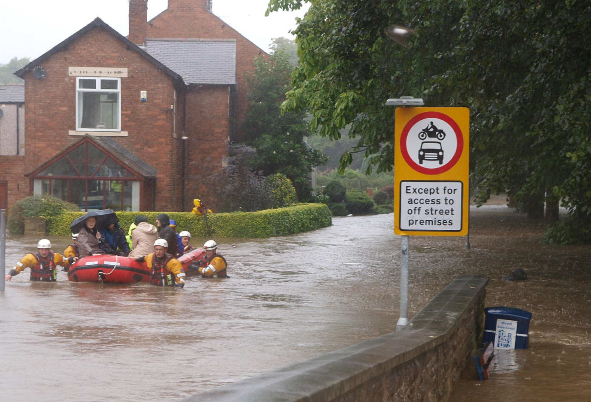 Flooding in an English town